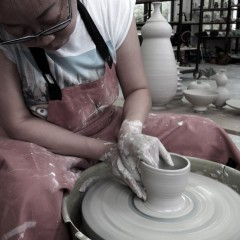 Florence Fung working the wheel - Cardiff Ceramics