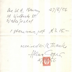 Letter written to W. A. Ismay by Hans Coper, from the W. A. Ismay archive at CoCA York.