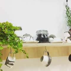 A shelf with plants and hanging mugs
