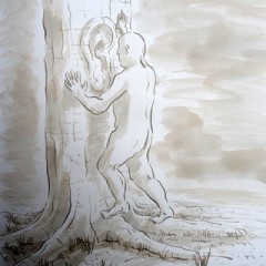 A preliminary sketch by artist Garry Barker for the 'Tree Listening' installation in the York Museum Gardens