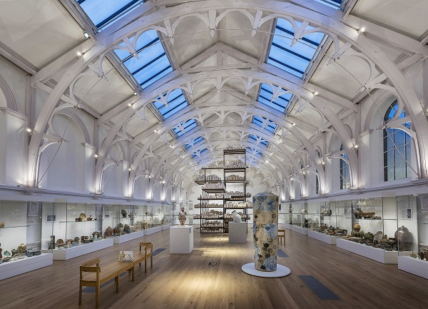 Part of the Centre of Ceramic Art collection, which has a mezzanine floor within a Victorian roof void.
